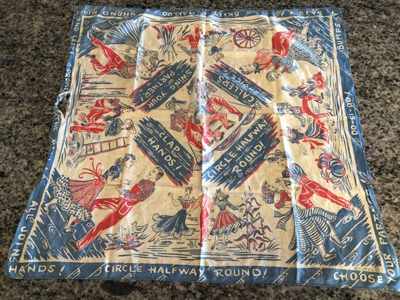 Antique Vintage Blue and Red Square Dance Bandana