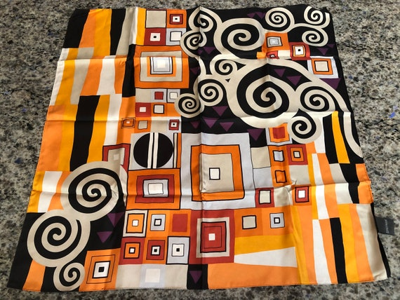 Frey Wille Modern Abstract Square Silk Scarf in Bl