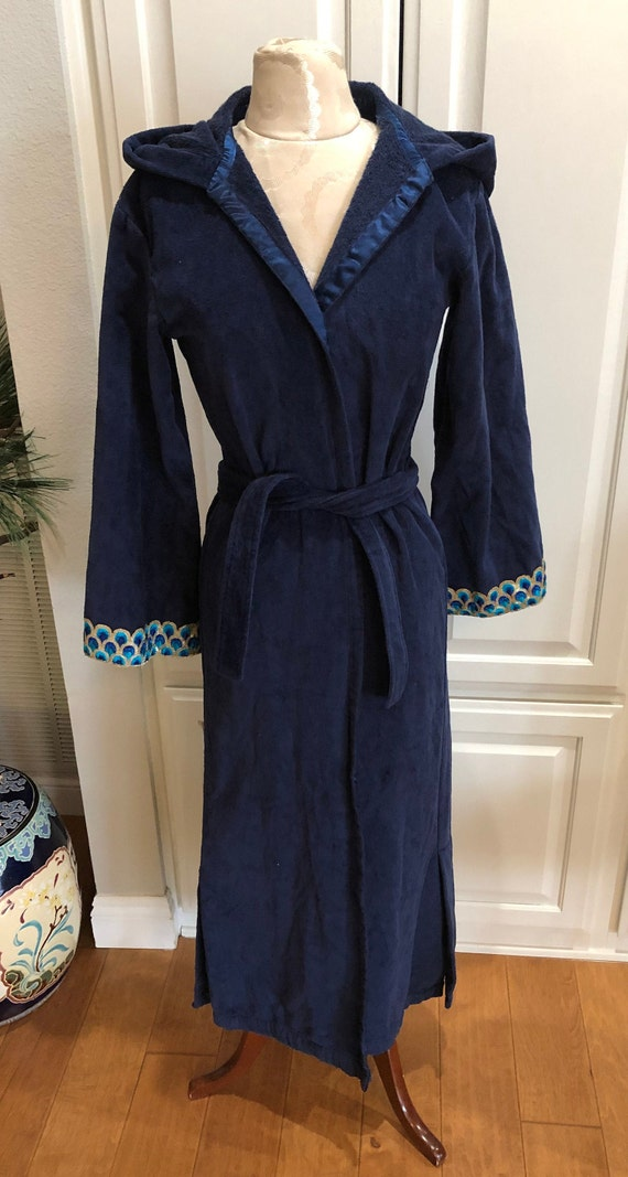 Olivia Joffrey Navy Blue Wrap Long Terry Hooded Ro