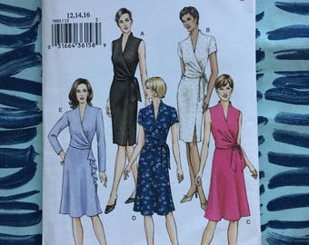 Vogue Sewing Pattern 7693 Misses Wrap Dress  Size 12-14-16 uncut-Vogue Pattern,wrap dress pattern, wrap dress