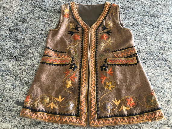 RARE Folk Costume Brown Felted Wool Embroidered Ve