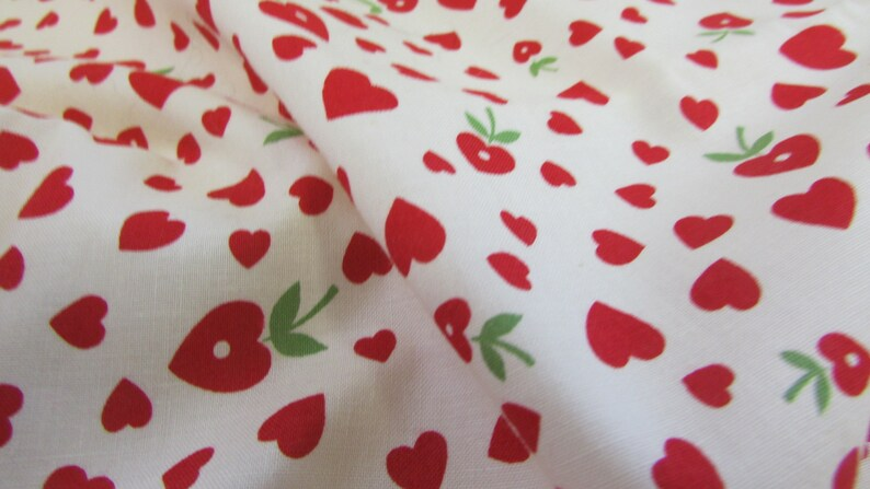 2009 With Love by Sharon Evans Yenter for In the Beginning Heart Apple Cotton Fabric; 44W X BTY cotton fabric Valentines Day heart fabric