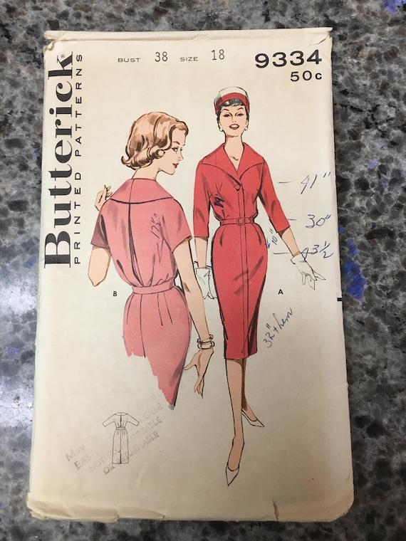 SELTENE 1950er Butterick Schnittmuster 9334 Misses zugeschnitten Shirtwaist Slim Kleid Größe 18 geschnitten-1950er Jahre zugeschnitten ...