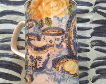 Royal Doulton Expressions Afternoon Tea Porcelain Coffee Mug with Blue Willow China Pattern on Front Designed by Philippa Mitchell