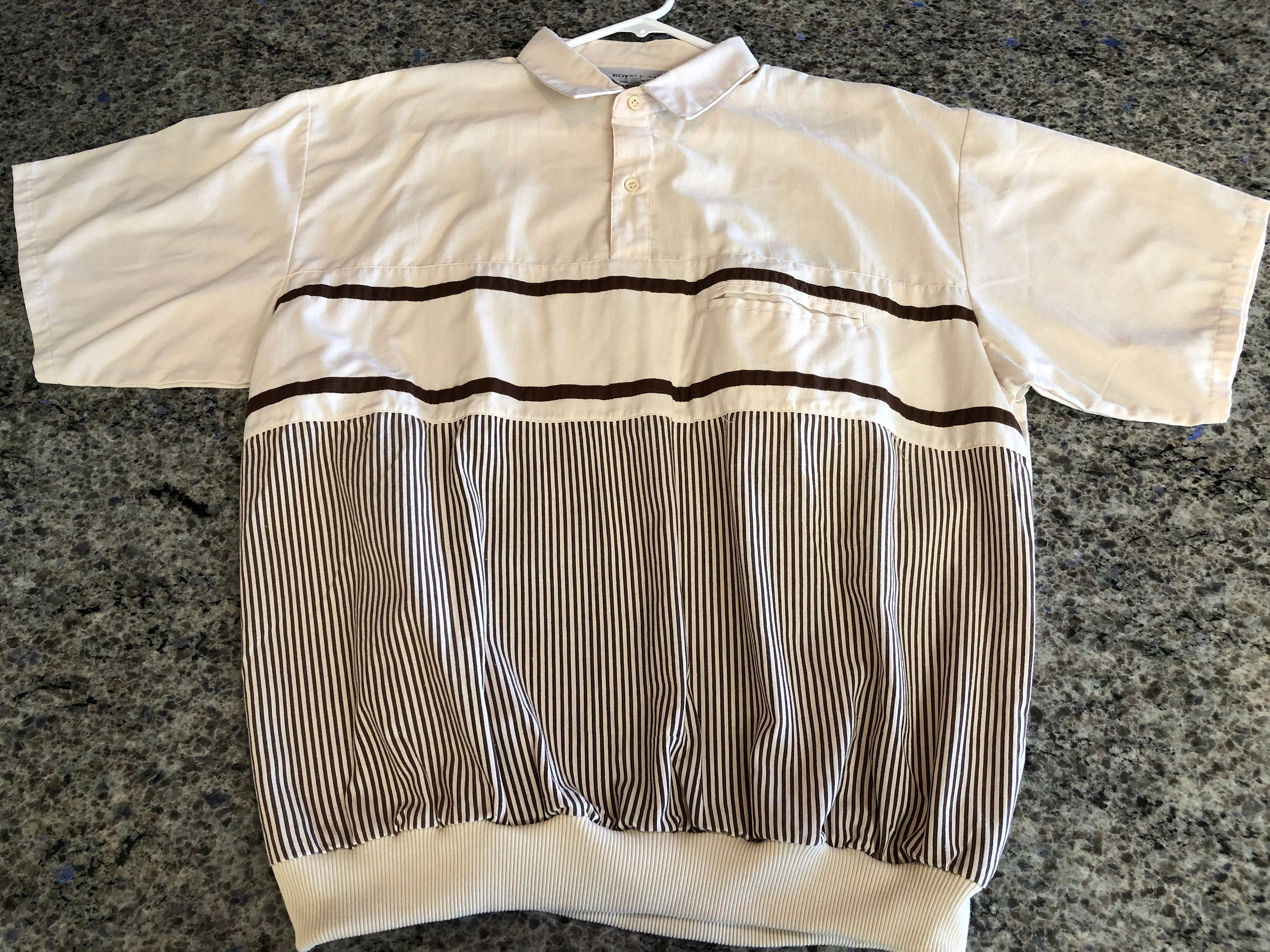 1970s Men's Shirt Styles – Vintage 70s Shirts for Guys Vintage 1970S Mens Royal-Aire Short Sleeve Shirt Elastic Waist Beige With Brown Stripe Size Xl - Elastic Waist Mens Shirt, Beige Shirt $26.00 AT vintagedancer.com