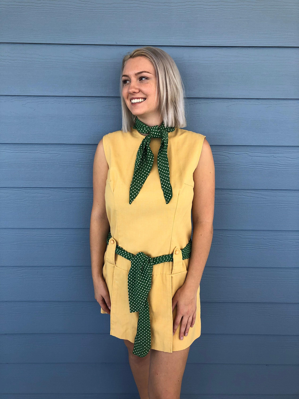 Vintage Scarf Styles -1920s to 1960s Vintage 1960s Handmade Pale Yellow Drop Waist Skort Mini Dress Sleeveless With Green Polka Dot Scarf  Belt Size M-L - Skort Dress $35.00 AT vintagedancer.com