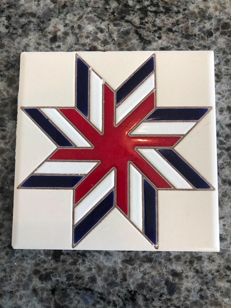 White /& Blue Pinwheel Quilt 6 Ceramic Art Tile  -pinwheel pattern tile Vintage Dal Tile Red Fourth of July tile patriotic ceramic tile
