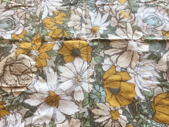 Vintage Savalux Yellow And Brown Floral Print Upholstery Etsy