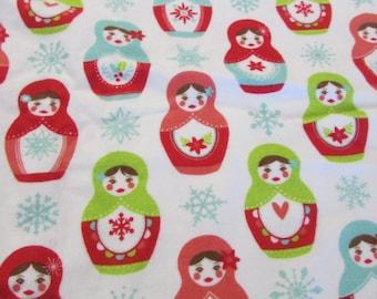 "RARE Vintage Flannel Riley Blake Designs F 4380 Russian Doll Matryoshka Print Winter Fabric 45"" W x 52"" L -  soft flannel fabric"