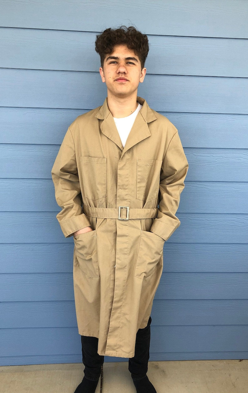 Vintage Mens Baafg Co Tan Cotton Blend Long Sleeve Belted Work Mechanics Lab Trench Coat Jacket Union Made Size 40-mens lab coat,trench coat