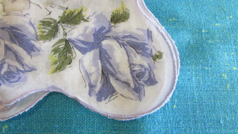 blue rose floral hanky lavendar floral handkerchief Vintage White with Lavendar Floral Handkererchief with Scalloped Edge 15 Square