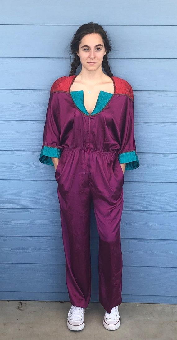 RARE Vintage 1980's Mary McFadden Purple Color Blo