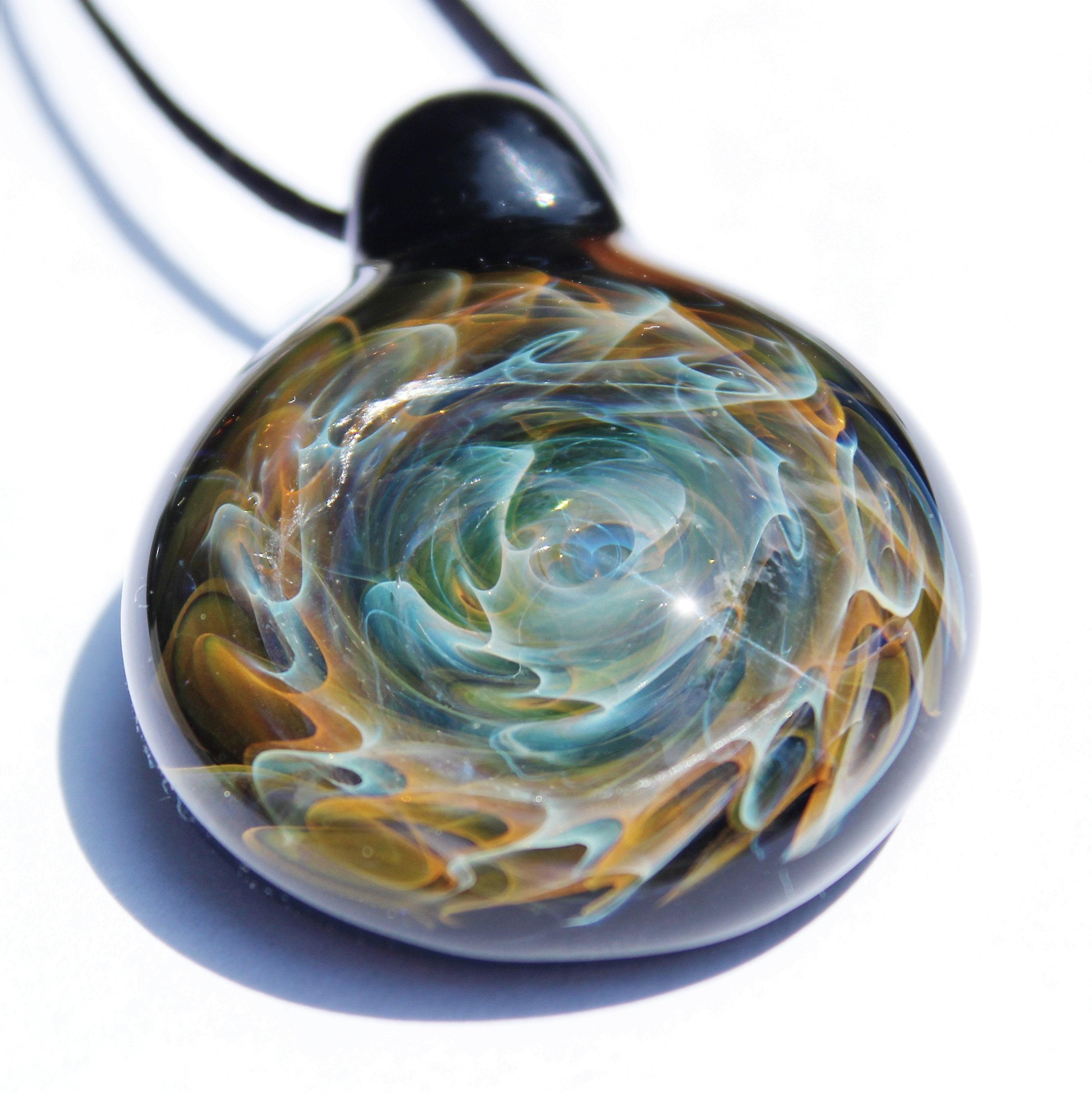 statement necklace galaxy blown glass pendant trippy glass pendant heady glass pendant galaxy necklace glass pendants birthday giftjewelry - Heady Glass Pendants