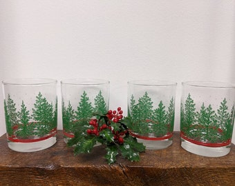 Vintage Christmas tree glasses by Libbey for Christmas cocktails and entertaining