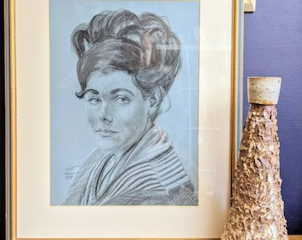 Vintage 1960s charcoal portrait of woman on paper with frame by Mort Hyman