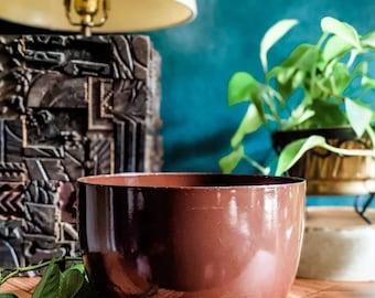 Vintage Finel bowl designed by Kaj Franck in brown enamel