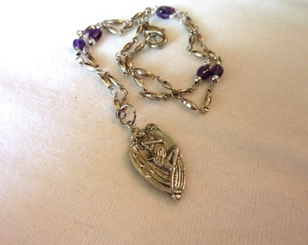Amethyst Silver Angel Pendant Necklace - 19 Inches - Angels Wings