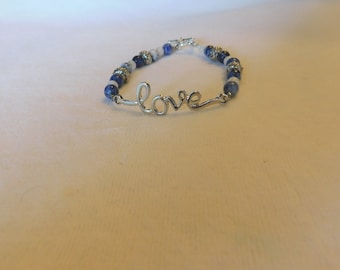 "Sodalite Moonstone ""Love"" Gemstone Bracelet - 7 1/2 Inches"