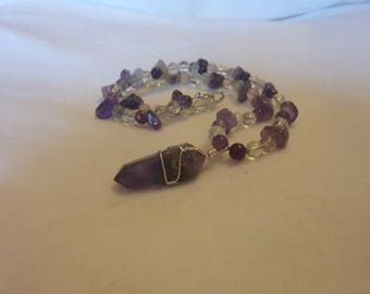 Amethyst Rainbow Fluoride Quartz Crystal Wire Wrapped Pendant - 17 Inches
