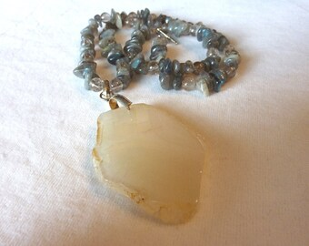 Labradorite Tourmalated Quartz White Agate Pendant Necklace - 23 Inches - Stormy Skies