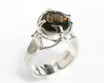 Smoky Topaz Quartz Ring OOAK Statement Jewelry Fine Gemstone Silver Ring