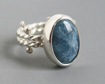 Natural Aquamarine Ring Silver Double Rope Design with Dot Detail Modern Contemporary Design OOAK