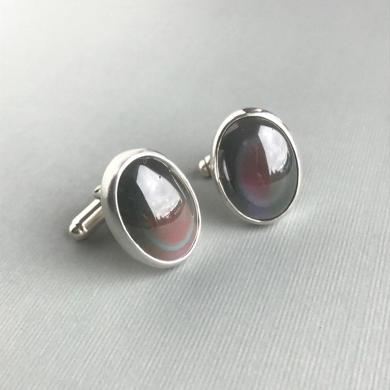 Obsidian Gemstone Cufflinks in Sterling Silver Purple Glow