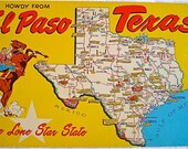 Texas, Vintage Postcard, Cowboy, Map, Western, Lone Star State,1960,  Yellow, Horse, State