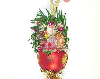 vintage christmas ornament glass old german style red santa wire wrapped - Ski Christmas Decorations