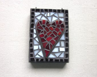 Heart, Original Art, Mosaic, Red heart, Love, Romance, Wedding Gift