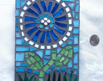 Blue Flower, Wall Art, Original, Mosaic, Handmade, Gift, Housewarming, Wedding, Birthday, OOAK