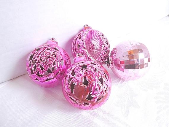 Pink Christmas Ornaments.Pink Christmas Ornaments 1950s Mid Century Decorations Vintage Plastic Group Of 4