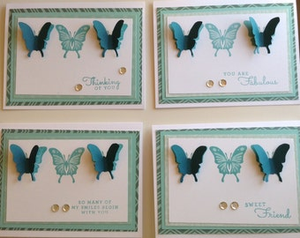 Set of Four Butterfly Notecards