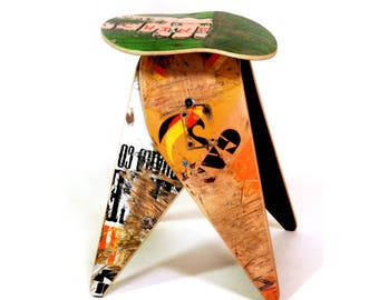 """Deckstool 18"""" Recycled Skateboard Stool - Single Stool - Free Shipping Worldwide. Cool skateboarder or reclaimed material design gift."""