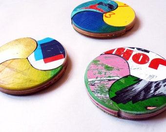 Wheel of Joy - Coaster Set of (3) Three by Deckstool. Recycled Skateboard Home Decor. Fun colorful skater coasters skater boy or skatergirl