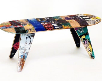 """Skateboard Bench - 48"""" Two seater. Modern Recycled Skateboard Furniture designed and handmade by Deckstool."""