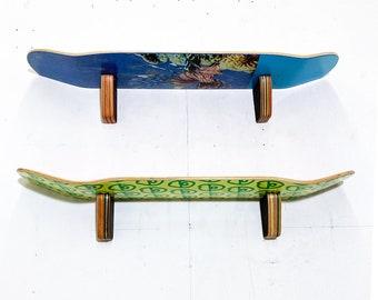 Skateboard Wall Shelf - Set of (2) Two - SkateShelf made from recycled skateboards by Deckstool. Skateboarding teen wall-mounted bedroom.