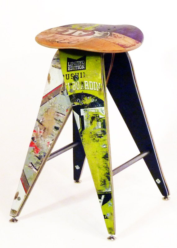 Recycled Skateboard Barstool 25 Counterheight Stool Etsy