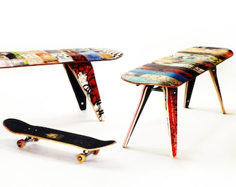 """Skateboard Bench - 60"""" Three seater. Modern Recycled Skateboard Furniture designed and handmade by Deckstool."""