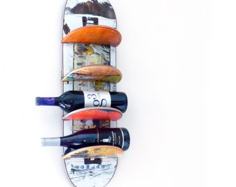 Recycled Skateboard Wine Shelf - Single (1) - Wall mounted made from recycled skateboards by Deckstool. Hold four 750ml bottles.