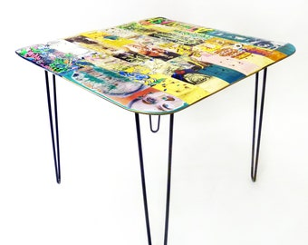 Recycled Skateboard Dining Table - 36 x 36 Square with Steel Hairpin Legs by Deckstool. Midcentury Modern Cool. Superior quality guaranteed.
