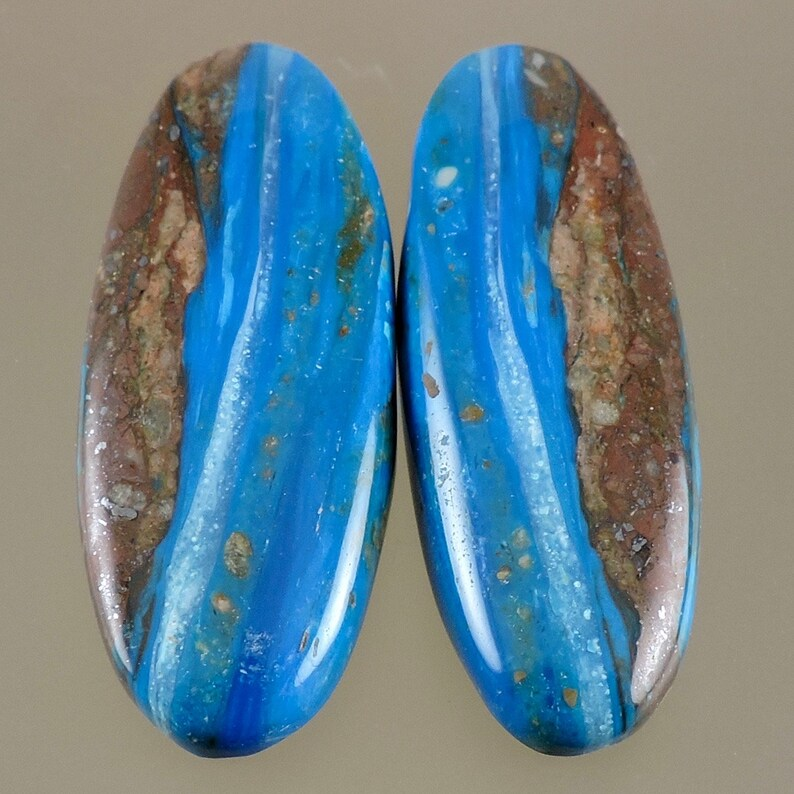 Peruvian Blue Opal Cabochon Electric Blue Opal Cab Cabochon image 0