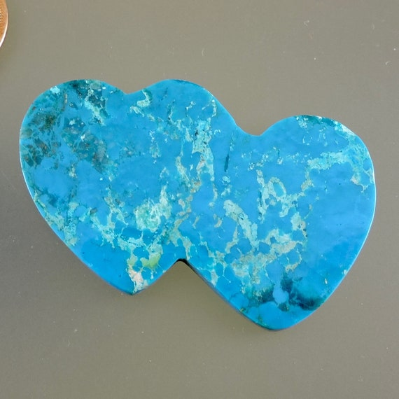 Designer Turquoise Double Heart Cananea Turquoise Cabochon C3028 Hand Cut by 49erMinerals Cananea Turquoise Double Heart Cab
