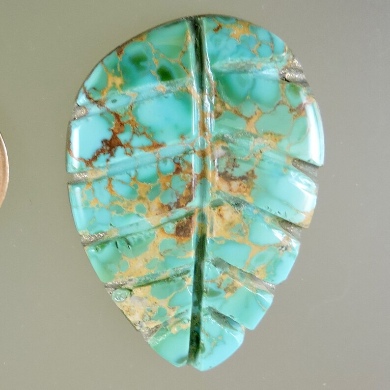 Designer Cabochon Turquoise Matrix Cab Turquoise Carved Leaf Cabochon C3828 Hand Cut by 49erMinerals Turquoise Leaf Gift Cab
