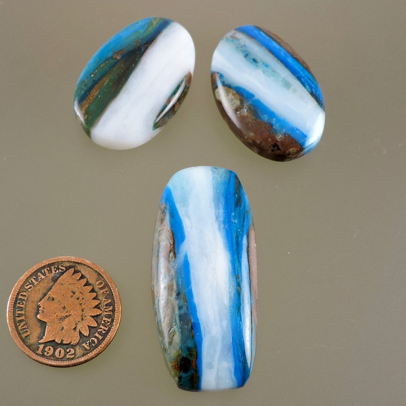 Peruvian Blue Opal Cabochon Electric Blue Opal Set Cabochon image 0