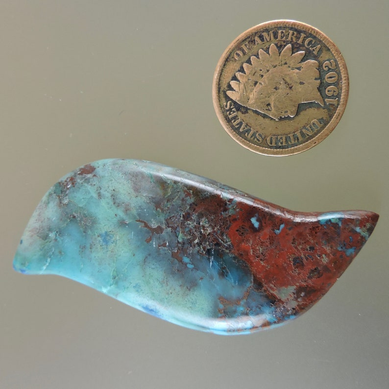 Red and Blue Cab Hand Cut by 49erMinerals C3829 Gift Cab Chrysocolla Ray Mine Cab Designer Cabochon Chrysocolla and Cuprite Cabochon