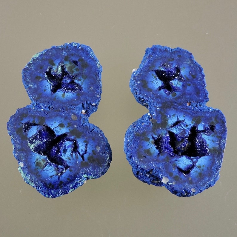 Blueberry Azurite Nodule Cabochons Blue Druzy Azurite Pair image 0