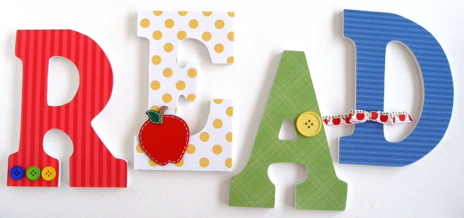 Set Of 4 Decorated 9 Wooden Letters Personalized