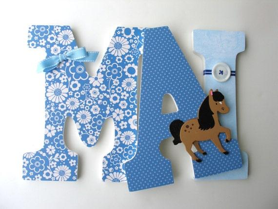 **HANDMADE** Horse /& Name Decoration Baby Shower Boy Girl Gift Nursery Bedroom