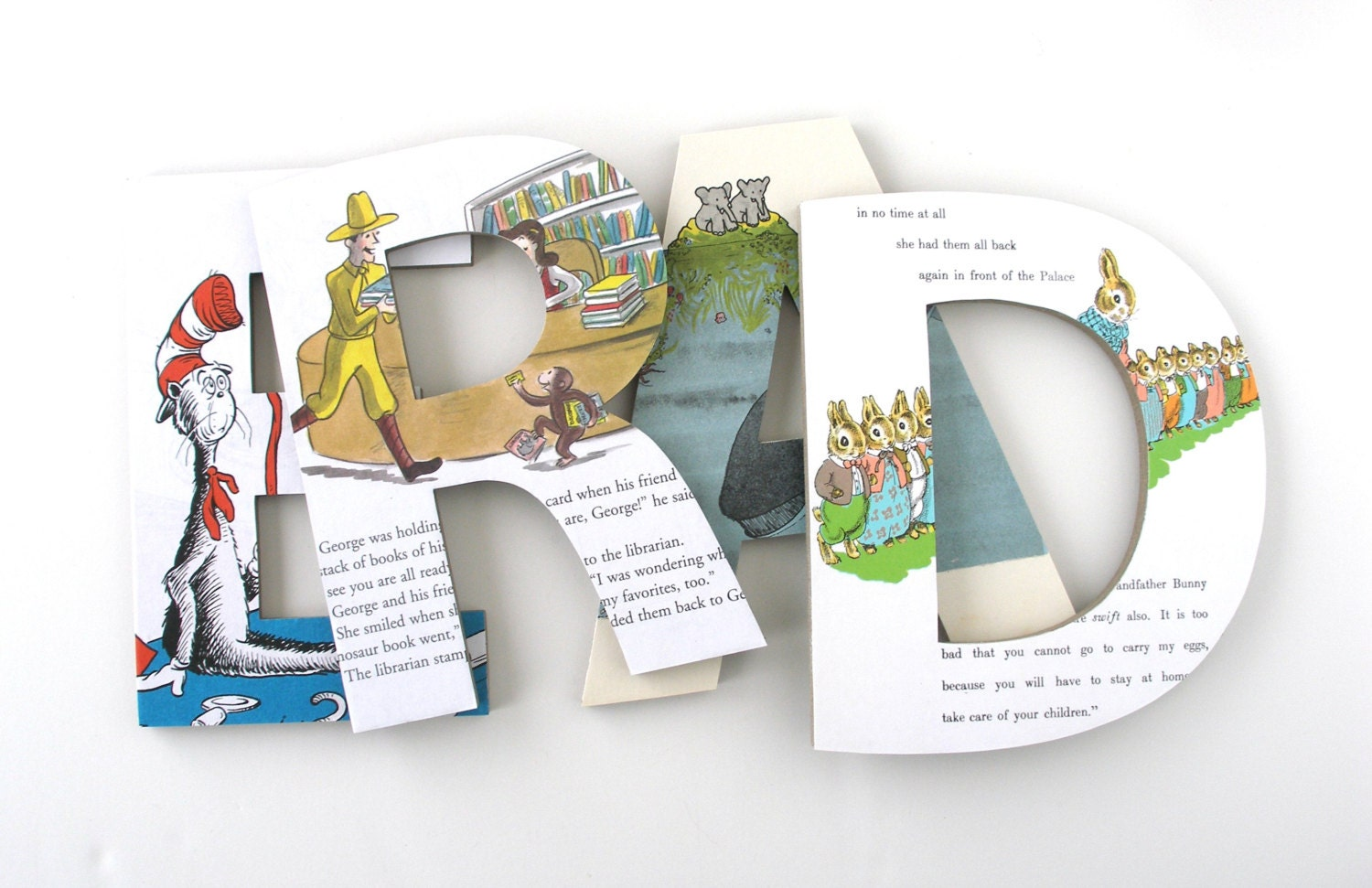 Read Playroom Letters - Repurposed Children's Books - Nursery Décor,  Library Wall Hanging, Classroom Decor